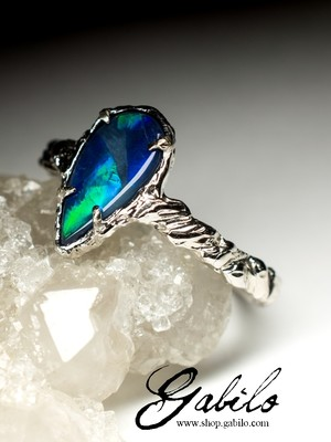 Black opal white gold ring