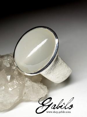Men's moonstone silver ring