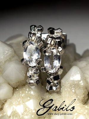 rock crystal gold stud earrings