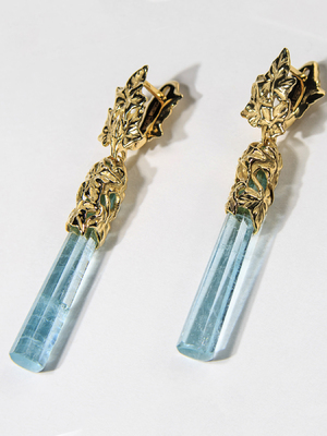 Long aquamarine gold earrings