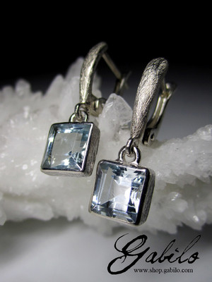 Aquamarine gold earrings with gem report MSU