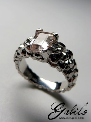 Morganite gold ring with gem report MSU