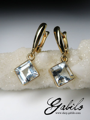 Aquamarine gold earrings with gem report