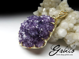 Big amethyst gold pendant