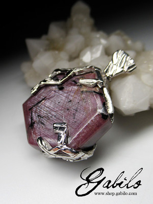 Ruby silver pendant
