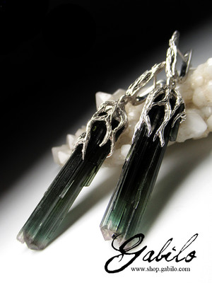 Tourmaline crystals silver earrings