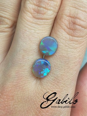 Black opal pair oval cut 2.21 ct