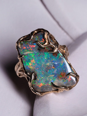 Boulderopal gold ring