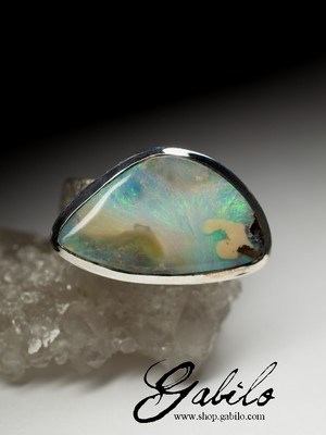 Man's big Boulder Opal Silver Ring