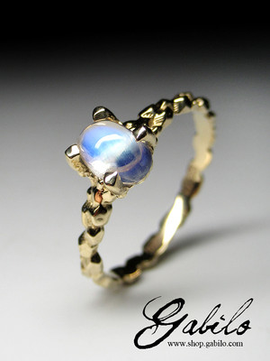 Moonstone goldener ring with Gem Testing Report