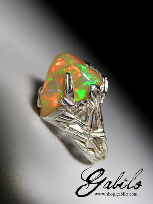 Opal silber ring