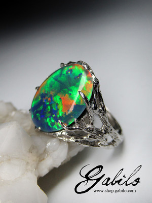 Made to order: Triplet opal silber ring