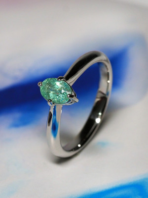 Tourmaline Paraiba goldener ring with Gem Testing Report