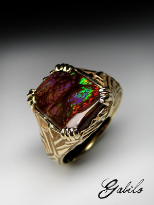Fire agate goldener ring