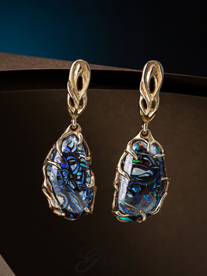 Koroit opal gold earrings