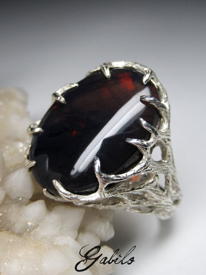 Made to order: Black opal silver ring