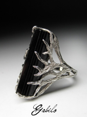 Made to order: Black tourmaline сrystal silver ring