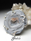 Big agate rose silver pendant