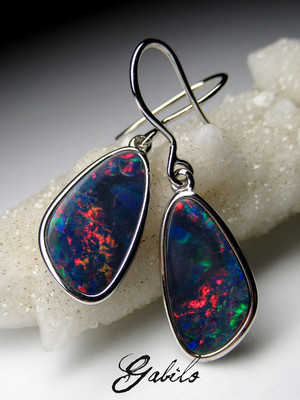 Doublet opal silver earrings