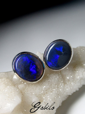 Made to order: Black opal silver earrings