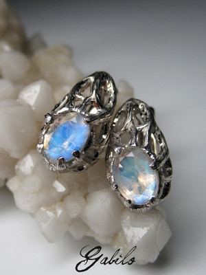 Moonstone silver earrings