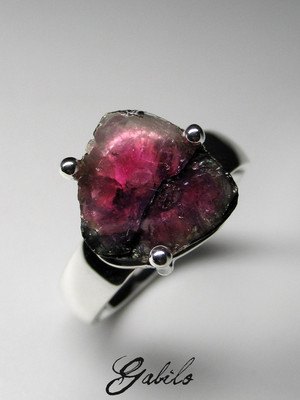 Slice tourmaline silver ring
