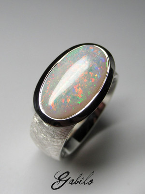 Made to order: Australian opal silver ring