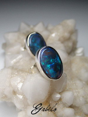 Black opal silver earrings