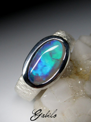 Made to order: Dark opal silver ring