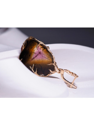 Tourmaline gold earring