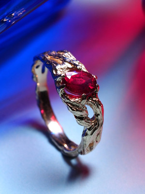 Ruby gold ring code 12005