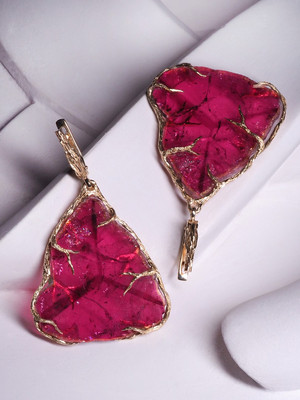 Tourmaline rubellite slice gold earrings