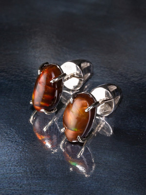Fire agate white gold earrings