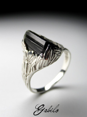 Tourmaline Crystal Silver Ring
