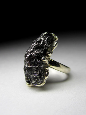 Meteorite white gold ring