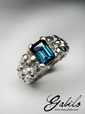 Tourmaline Indigolite Gold Ring
