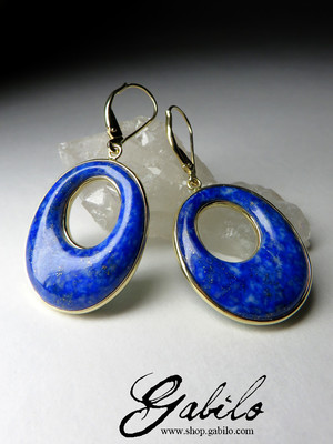 Gold earrings with lapis lazuli and malachite