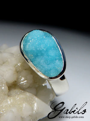Hemimorphite white gold ring code 675