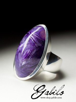 Men's silver ring with charoite first grade