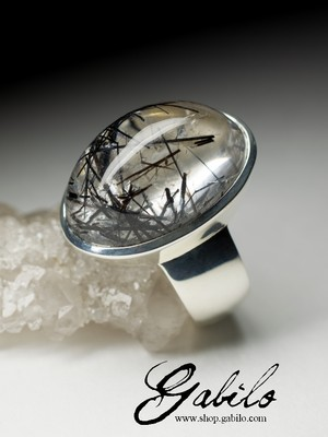 Men's rutilated quartz silver ring