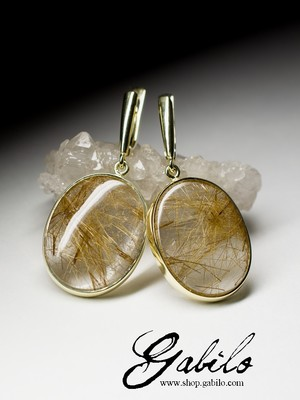 Rutilated quartz gold earrings