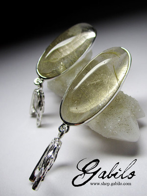 Rutilated quartz silver earrings code 807