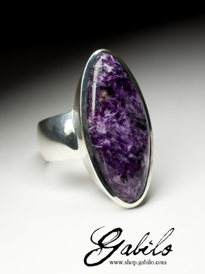 Men's ring with charoite