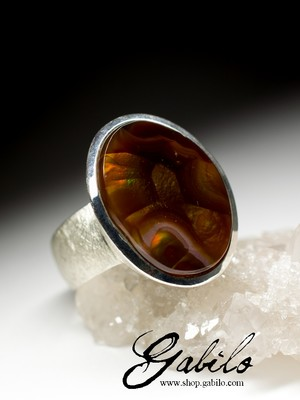 Men's Fire Agate Silver Ring