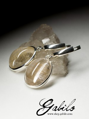 Rutilated quartz silver earrings