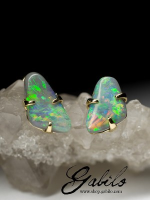 Made to order: Black opal 14k gold stud earrings