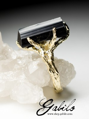 Schorl black tourmaline gold ring