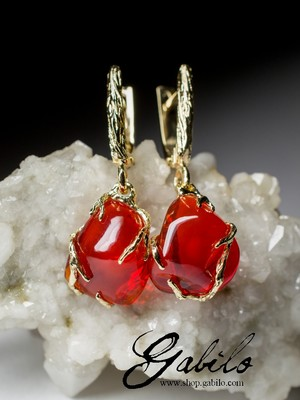Made to order: Fire opal gold earrings