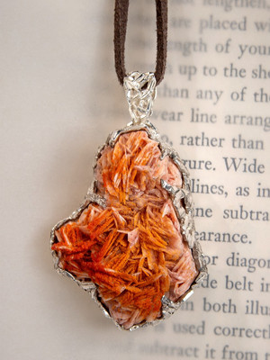 Vanadinite silver pendant