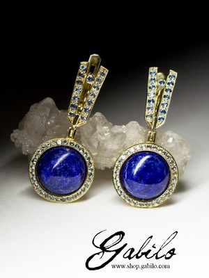 Gold earrings with lapis lazuli and sapphires